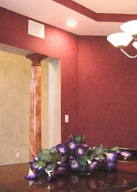 red faux finished wall